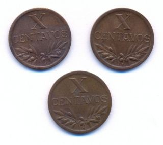 Portugal X Centavos 1943,  1944 And 1947 Xf+ photo