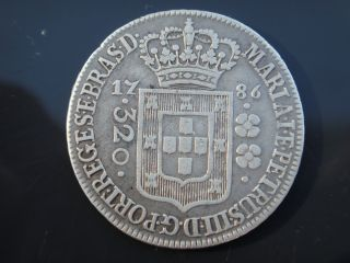 Brazil 1786 Silver Coin 320 Reis High Crown D.  Maria I E D.  Pedro Iii Rare photo