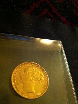 1876 Soverign Young Victoria Gold Coin Rare photo