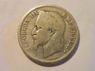 1866 Silver Napoleon Iii 2 - Franc French Coin photo
