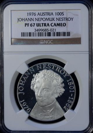 1976 Austria 100 Shilling Silver Ngc Pf 67 Ultra Cameo Unc Johann Nepomuk photo