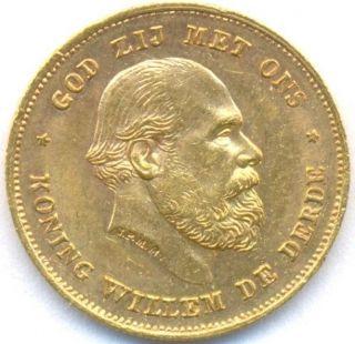 1875 Gold 10 Gulden Netherlands,  Scarce One Year,  Gem Unc photo