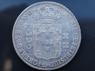 Brazil 1783 Silver Coin 320 Reis High Crown D.  Maria I D.  Pedro Iii Rare photo
