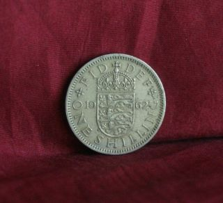 1962 Great Britain One Shilling England World Coin Uk Lion English Shield Crown photo