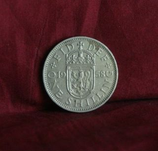 1958 Great Britain One Shilling England World Coin Uk Lion English Shield Crown photo