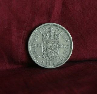 1956 Great Britain One Shilling England World Coin Uk Lion English Shield Crown photo