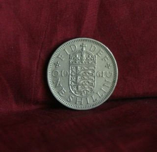 1961 Great Britain One Shilling England World Coin Uk Lion English Shield Crown photo