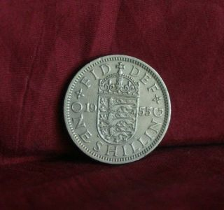 1955 Great Britain One Shilling England World Coin Uk Lion English Shield Crown photo