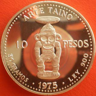 1975 Dominican 10 Pesos Silver Dominicana Dominikanische Dominicaine Domenicana photo