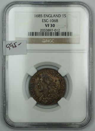1685 England One Shilling Silver Coin Esc - 1068 Ngc Vf - 30 Akr photo
