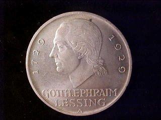 Lessing 5 Reichsmark 1929a Bu photo
