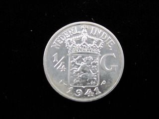1941 Netherland East India 1/4 Gulden Silver Coin - 72% Silver photo