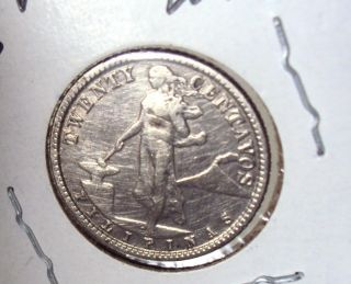 1918 - S Philippines 20 Centavos.  750 Silver Coin photo
