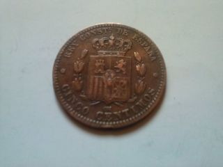 5 Centimos 1878 - Bronze Coin From Spain - Vf photo