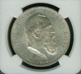 German States - Bavaria 1911 - D 5 Mark Silver Coin,  Ngc Certified Au58 photo
