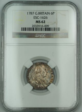 1787 Great Britain 6p Six Pence Silver Coin Esc - 1626 George Iii Ngc Ms - 62 Akr photo