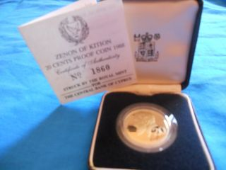 2rooks Cyprus Greece Europe 20 Cents Proof Coin 1988 No.  1860 photo