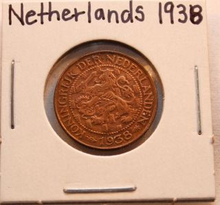 1938 Netherlands One (1) Cent - Au Coin Km152 photo