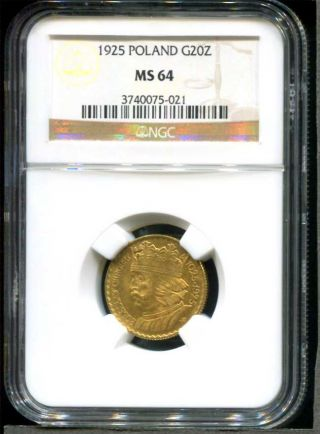 1925 Poland Uncirculated 20 Zlotych Gold Coin Ngc Ms - 64 Low Mintage photo