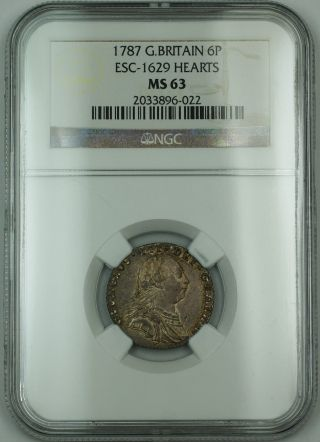 1787 Britain 6p Six Pence Silver Coin Esc - 1629 Hearts George Iii Ngc Ms - 63 Akr photo