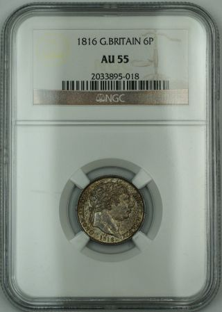 1816 Great Britain 6p Six Pence Silver Coin George Iii Ngc Au - 55 Akr photo
