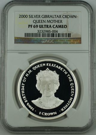 2000 Gibraltar Silver Crown Proof Coin,  Ngc Pf - 69 Uc,  Elizabeth,  Queen Mother photo