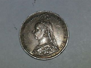 1887 Silver 6 Pence Victoria (jubilee Head/shield Reverse) 1 Yr Type Coin. photo