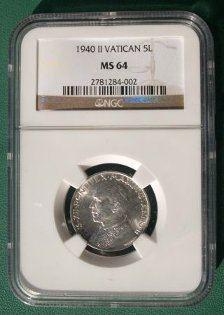 Ms - 64 Ngc Coin.  Vatican City.  5 Lire 1940.  Silver.  Uncirculated. photo