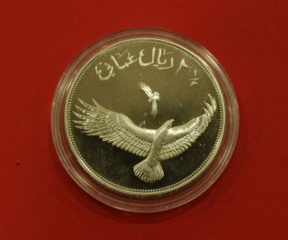 Oman - Silver Proof 2 - 1/2 Omani Rials Coin 1987 Year Km 73 Wildlife Eagle photo
