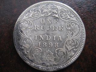British India 1 Rupee Victoria Empress 1898 ' B ' Incused Look photo