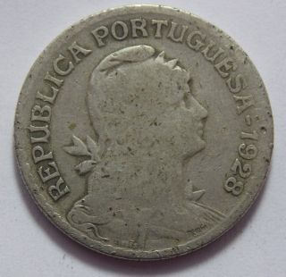 1928 Portugal Copper - Nickel Escudos Coin photo