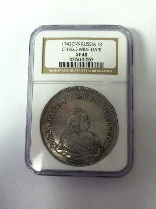 Russia Silver Rouble,  1742,  Spb,  Ngc Xf 40 Rare Ioann Iii Overstrike Wide Date photo