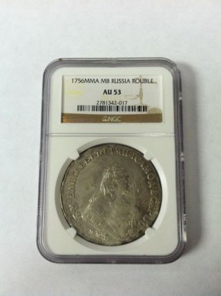 Russia 1756 Mmd Elizabeth Russian Silver Rouble Ngc Au 53 Only One Graded Rare photo