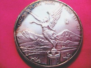 2002 - Pl 1oz Pure.  999 Silver Wings Of Liberty (libertad) Mexico=3653 photo