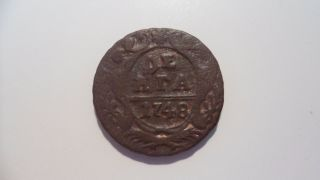1748 Denga (1/2 Kopek) Russian Empire Coin Elizaveta Petrovna Vf photo