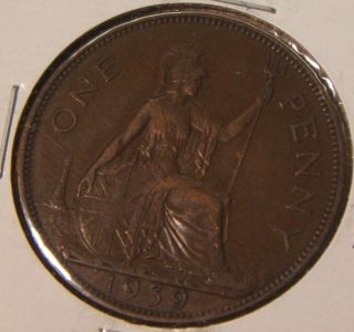 1939 Great Britain Large Penny Xf - Au photo
