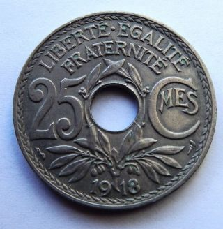 French Coin.  1918 Liberte Egalite Fraternite.  25 Cmes.  Very photo