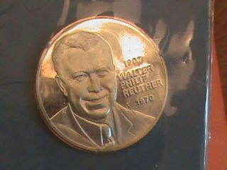 United Auto Worker Union Comm Silver Bu Coin - Walter Reuther Guarantee photo