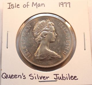 1977 Isle Of Man Crown Coin Celebrating The Silver Jubilee Of Queen Elizabeth photo