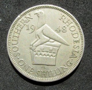 1948 Southern Rhodesia (zimbabwe) 1 Shilling Great British Colonial Coin photo