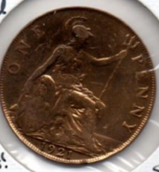 1921 Great Britain Penny Gold Plated L@@k photo