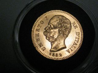 Unc.  1882 Gold 20 Lire.  Italy.  Umberto I.  Agw.  1867 Troy Oz.  Gold.  85 photo