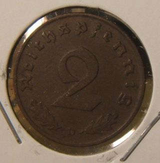 1938 - D Germany 2 Pfennig Coin Munich photo