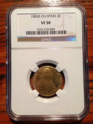 1806 Spain 2 Escudos Gold Graded Ngc Vf30 photo