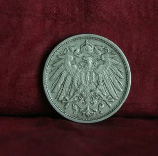 Germany Empire 10 Pfennig 1908 D World Coin Km12 German Reich Crown Eagle Shield photo