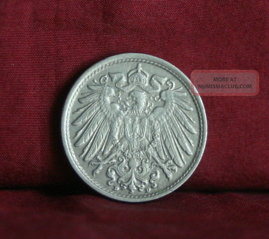 Germany Empire 10 Pfennig 1915 D World Coin Km12 German Reich Crown Eagle Shield Germany photo