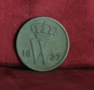1827 Netherlands 1 Cent Copper World Coin Lion Crown Shield Km47 photo