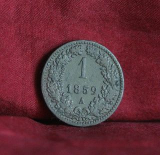 1859 A Austria 1 Kreuzer Copper World Coin Km2186 Eagle Crown photo
