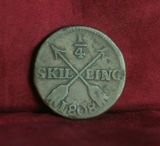 1808 Sweden 1/4 Skilling World Coin Km564 Gustaf Iv Adolf Crown Scandinavian photo