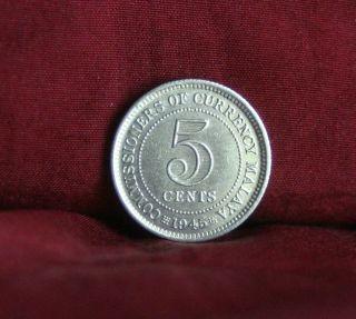 5 Cent 1945 Malaya Rare Silver World Coin Km3a King George Vi Asia photo